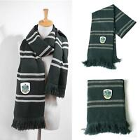 Harry Potter Slytherin Thicken Wool Knit Scarf Cosplay Green Christmas