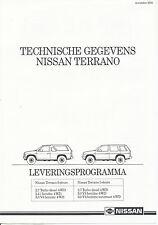 Nissan Terrano Prospekt 1990 Technische Gegevens NL brochure specifications 1190