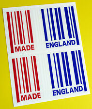 MADE IN ENGLAND flag BARCODE sticker decal x2 MINI COOPER LAND ROVER JAGUAR MG