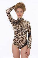 Viscose Women Bodysuit Turtle mock neck Long sleeve Thong S-3XL Leotard Top 1637
