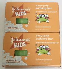 (2) Johnson's Kids Easy Grip Sudzing Soap Bar Watermelon Explosion