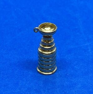 14K Solid Yellow Gold NHL Hockey Stanley Cup Charm