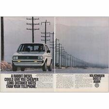 1980 Volkswagen Rabbit Diesel: Cheaper Long Distance Vintage Print Ad