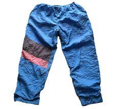 Men's Vintage 80's Blue Striped Shell Suit / Tracksuit Bottoms 32 - 34 W / 31 L