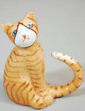 Pretty Little Vintage Kitty Tabby Cat Figurine Orange & White Small Porcelain