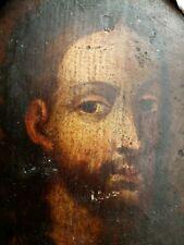 Huile sur panneau Christ de Face XVIIe Antic Painting
