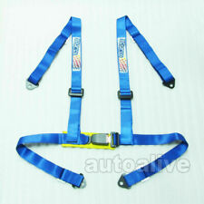 4 Point Blue 1.85 inch Width Car Racing Seat Belt Safety Harness Universal