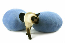 Cat cave bed,house from 100% wool for pet. handmade Color Sky Blue  Size L