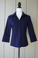 Mac & Jac Women's Blouse - Navy Blue - Career - Notch Collar 3/4 Sleeve - Size 6