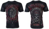 AFFLICTION Mens T-Shirt NORTHERN LIGHTS American Customs INDIAN SKULL Biker $58