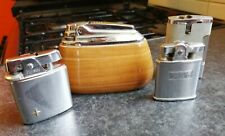 More details for set of 4 vintage ronson lighters table varaflame whirlwind electronic wooden