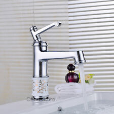 Chrome Porcelain Design Lever Handle Bathroom Basin Faucet Counter Mixer Tap NEW