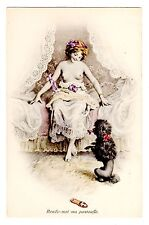 POSTCARD RISQUE WOMAN WITH POODLE AND SLIPPER VIENNE M.MUNK SERIES 873