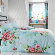 ALICE FLORAL DOUBLE DUVET COVER SET FLOWERS LEAVES TURQUOISE + PINK KIDS ADULTS