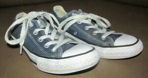 Converse All Star Navy Kid's Youth Blue Canvas Skate Shoes 3J237 Size 2 Lace-up