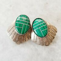 Vintage Navajo Green Sterling Faux Malachite 925 Sterling Silver Stud Earrings