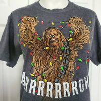 Star Wars Christmas T Shirt Chewbacca Untangling Lights Size S Chewy Graphic T
