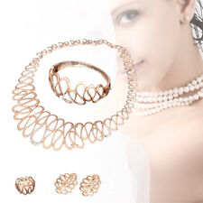 Wedding Jewelry Gold Plated Necklace Earrings Sets Fashion Alloy Women Dubai FT