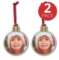 2 PACK PERSONALISED PHOTO CHRISTMAS BAUBLE DOUBLE SIDED ADD NAME TREE DECORATION