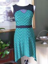 En Focus Studio Kelly Green/Black ZigZag Asymmetrical Hem Jersey Knit Dress 8