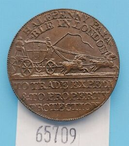 WPCoins ~ 1790's Half Penny Middlesex Mynd's Mail Coach, J. Palmer D&H 366 UNC