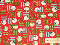 Ho-Ho-Ho-Ho Let it Snow Snowman R Benartex Christmas Fabric by the 1/2 Yd #03295