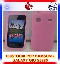 Custodia+Pellicola SILICONE ROSA pe Samsung S5660 GALAXY GIO