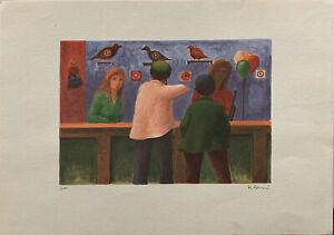 ROBERTO MASI litografia Tiro a Segno 50x35 firmata numerata 8/150