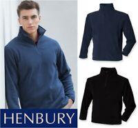 Henbury - Zip Neck Inner Micro Fleece Jacket - 1/4 Zip Lightweight Mens - XS-XXL
