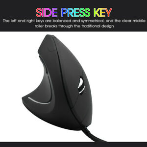 Wired Vertical Ergonomic Mouse 800/1200/2000/3200DPI-Resolution Optical Track UK