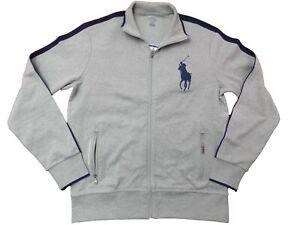 Polo Ralph Lauren Men Big Pony Track Active Stretch Knit Full Zip Jacket Grey M