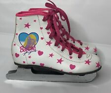 Girls Mattel Barbie Vinyl Double Blade Ice Skates White Pink Hearts Stars 12