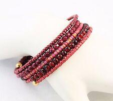 Glass Memory Wire Five Loop Bracelet Maroon Czech Glass Burgundy Seed Bead Pink