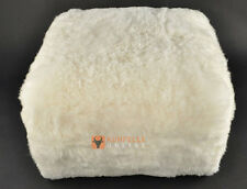 Eco Lambskin Pouf 23 5/8x23 5/8x11 13/16in Cube Stool Floor
