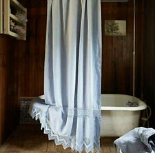 RACHEL ASHWELL COUTURE Cluncy Lace Indigo Blue SHOWER CURTAIN SHABBY CHIC LINEN