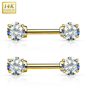 """Pair of 14kt Yellow Gold Nipple Bars Double Prong CZ Gems -14 Gauge 1/2"""" (12 mm)"""