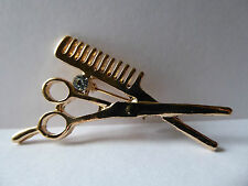 Scissor Comb Brooch,Hairdresser,Crafters,Dress Makers,Gold,Gift Idea,Gem,Unusual