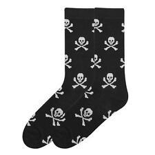 K. Bell Men's Crew Socks Skull Cross Bones Black Novelty Footwear