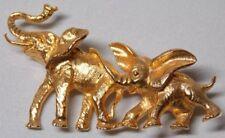 Vtg ART goldtoned mama baby Elephant Brooch Pin FREE SHIP USA