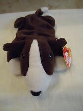 "Ty Beanie Babies ""Bruno"" Brown/White Bull Terrier Puppy Dog 1997. 8"" Pe Pell New"