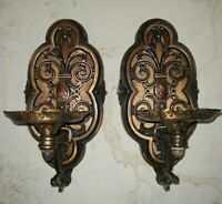 VTG Pair (2) Bronze Reticulated Spanish Revival Arts & Craft Wall Sconce 1900's