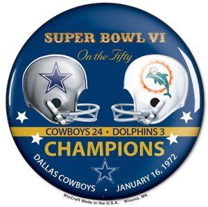 Dallas Cowboys Super Bowl 6 VI Champions Button SB 50 Commemorative Set