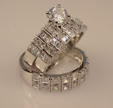 Men And Ladies White Gold Finish Trio Set Wedding  Engagement Rings