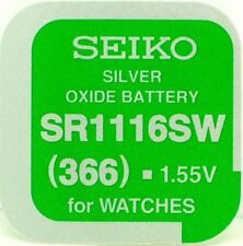 Free Watch Battery Made in Japan Seiko 366 Sr1116Sw Silver Oxide (0%Hg) Mercury