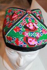 Vintage Uzbek Hat Tubiteyka Hat Colorful Embroidery Cap green pink Workmanship