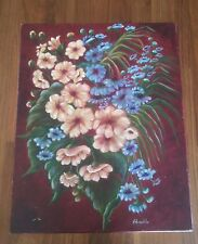 Still Life Oil Painting Blue Pink Flowers Burgandy Background 16x20 in Signed