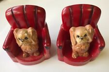 """Mid Century Roman Art Robia Ware Chalkware Spaniel Dogs in Chairs Bookends  5""""T"""