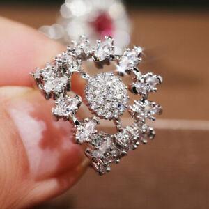 Gorgeous 925 Silver Rings Women White Sapphire Wedding Jewelry Gift Sz 5-10
