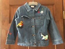 Hanna Andersson Girls' Embroidered Jean Jacket - size 6-7/120
