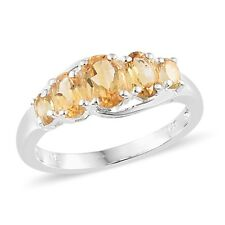 Fine 925 Sterling Silver Oval Citrine 5 Stone Ring for Women